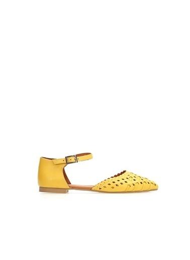 Ballerins Hakiki Deri El Yapımı Sarı Babet Blrs-211 Sarı